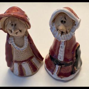 Clay  Christmas Mrs & Mr Santa Clause figures